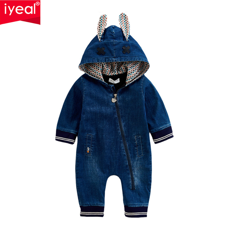 IYEAL Newest Newborn Toddler Kids Baby Boy Girl Denim Long Sleeve Romper Jeans Jumpsuit Cute Hooded Ears Outfits Costume 0-12M iyeal 2017 winter thick warm newborn baby clothes kids boy cotton long sleeve cute print romper toddler infant overalls 0 12m