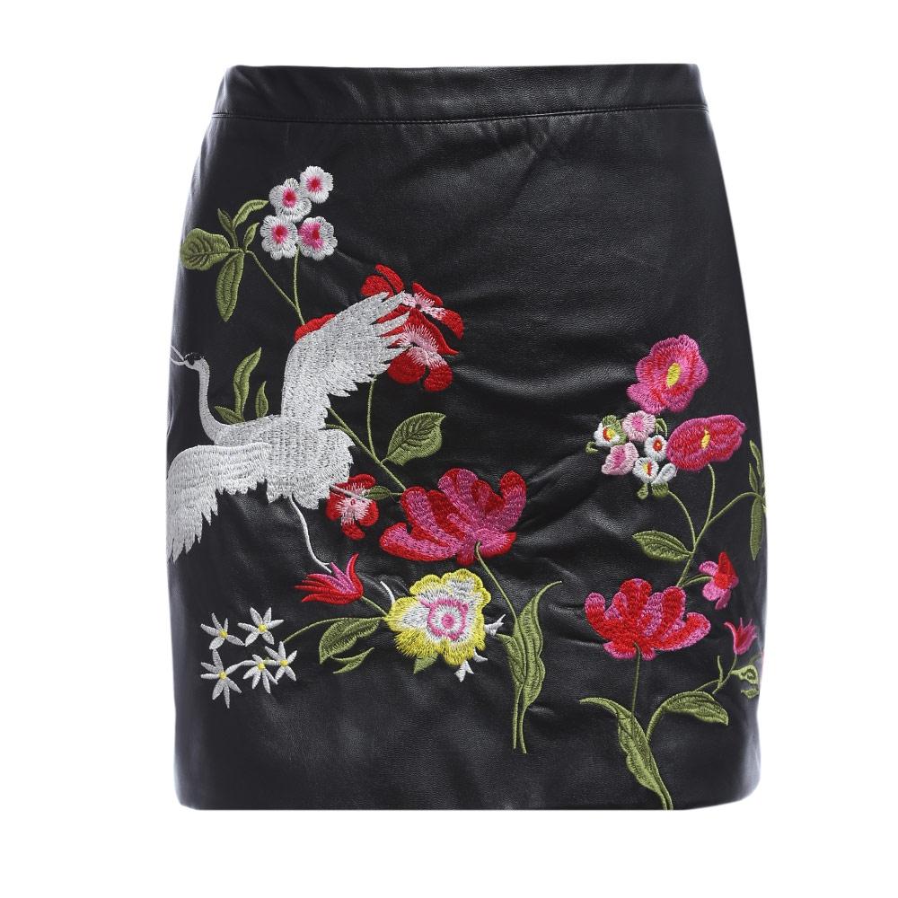 VESTLINDA Black Skirt Floral Embroidery Vintage PU Leather Pencil Skirt Women Slim High Waist Zipper Mini Ethic Plus Size Skirts 14