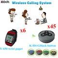 Llamada del restaurante de paginación del sistema transmisor de larga distancia inalámbrico 6 unids reloj de Pager Y-650 Durable llaman botón 45 unids 4 tecla K-H4