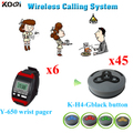 Restaurante sistema de paginação chamada transmissor de longa distância sem fio 6 pcs relógio botão de chamada Pager Y-650 durável 45 pcs key K-H4