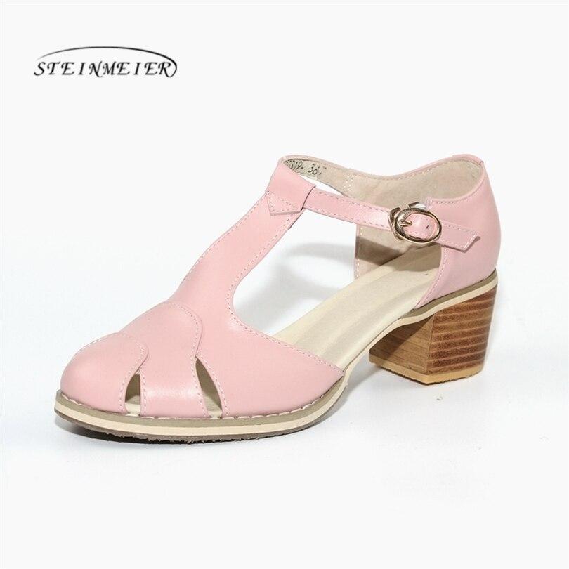 Ayakk.'ten Orta Topuklu'de Kadın hakiki Deri oxford Sandalet yaz ayakkabı kadınlar el yapımı 5 cm vintage yuvarlak Ayak kalın topuk oxford yaz pembe ayakkabı'da  Grup 1