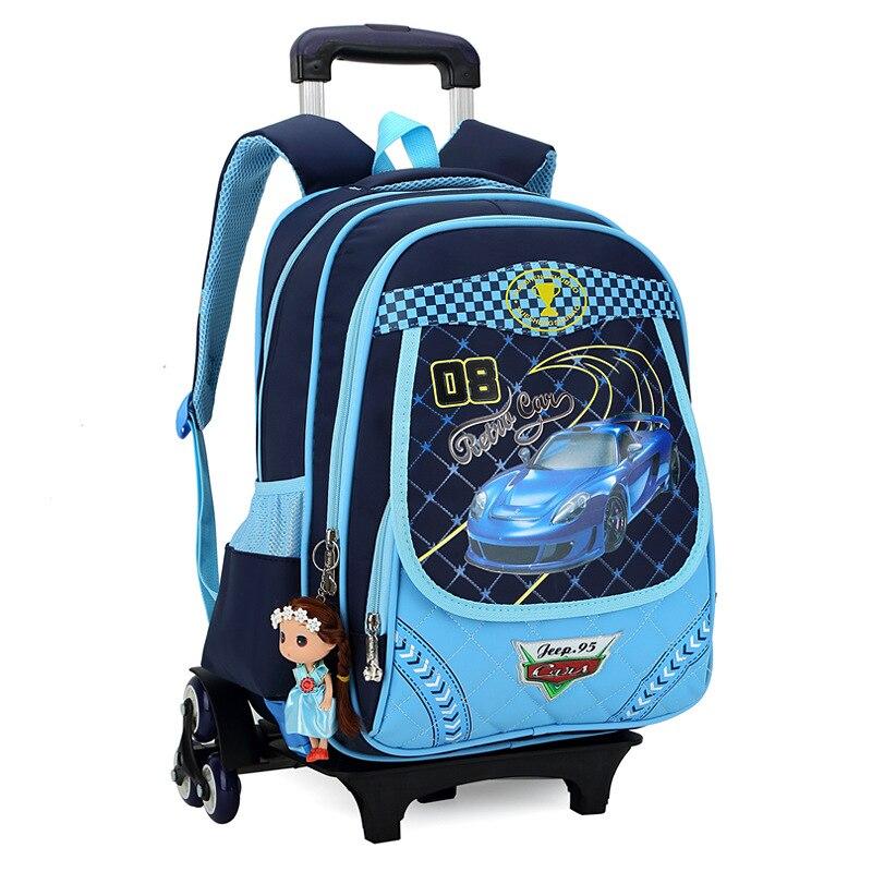 Детей багаж школьные сумки с 3 колеса сумка рюкзак рюкзаки для девочек женские Mochila Escolar печати рюкзак