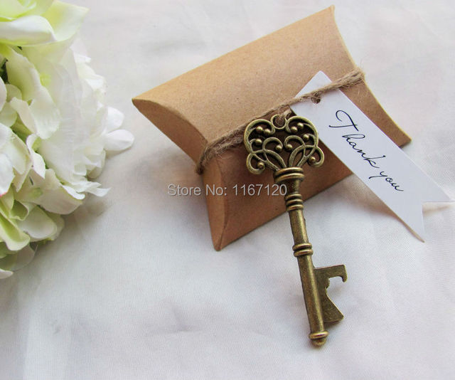 200sets Kraft Paper Pillow Box Thank You Gift Tags Skeleton Key Bottle Openers Wedding Party Favor