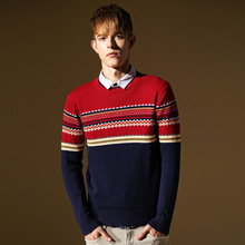 winter men Christmas sweater men's pullover  male casual  Fashion patchwork red  100%cotton sweater