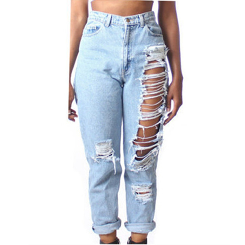 2015 European Style Jeans Woman Ripped Jeans For Women Cotton Loose Straight Light Blue Sexy Nine Pants Plus Size Hot Sales E56