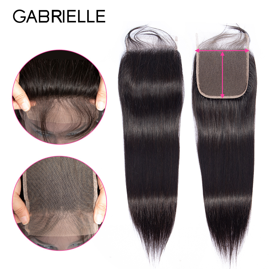 Gabrielle Human Hair 5x5 Lace Closure Brazilian Straight Hair Top Closure With Baby Hair Natural Color Remy Hair Extensions