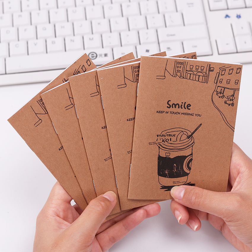 1PC Creative Retro Stationery Kraft Paper Notebook Mini Blank Cup Filofax Diary Notepad Kraft Cover Note Books Office Supplies