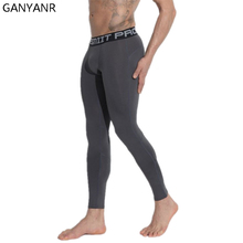 GANYANR Brand Running Tights Men Sports Leggings Yoga Basketball Fitness Gym Compression Sexy Jogging Pants Football 2017 skinny
