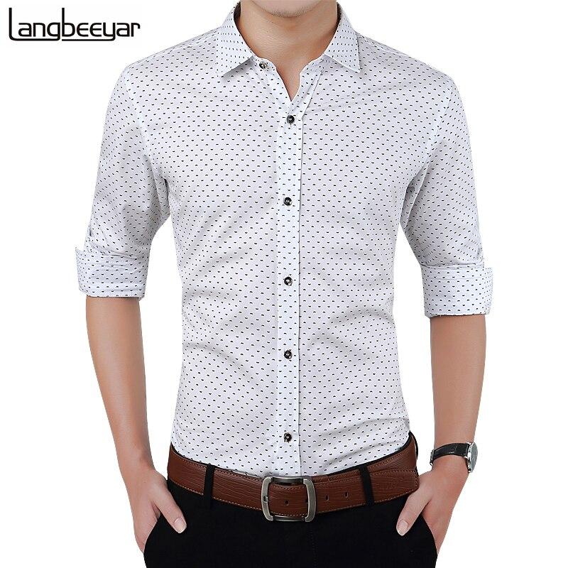 New Autumn Fashion Brand Men Clothes Slim Fit Men Long Sleeve Shirt Men Polka Dot Casual Men Shirt Social Plus Size M-5xl