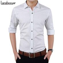 Ropa de marca de moda para hombre, camisa de manga larga ajustada para hombre, camisa informal de lunares, camisa de hombres para ocasiones sociales de talla grande M 5XL 2020