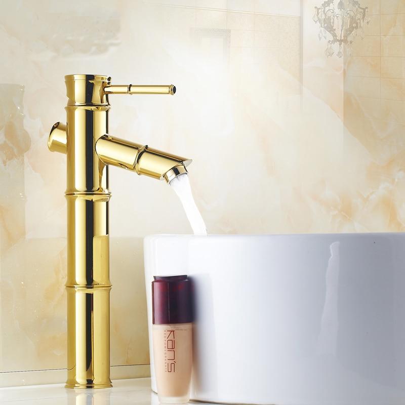 Antique plaqué or bambou style laiton bassin robinet chaud et froid, Art rétro monotrou salle de bain bassin robinet en gros ou au détail