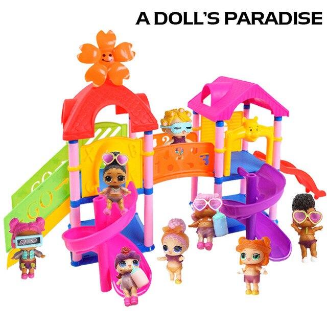Venda quente Princesa Boneca Parque Casa de Jogo Grande Surpresa de Slides Playset Toy Presente para LOL Boneca Desenvolver a inteligência 45 # dropship
