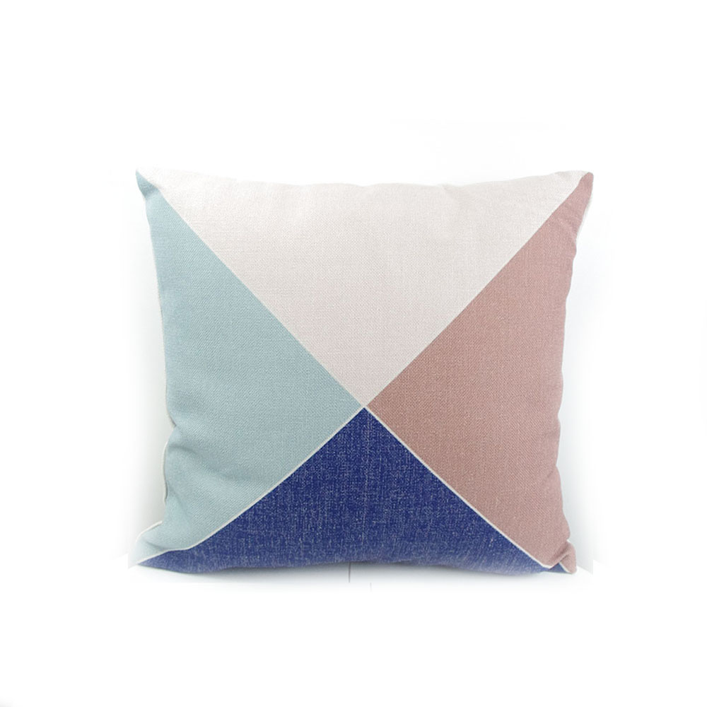 High-end digital print pastel blue geometric pattern pillow cushion throw factory direct sell