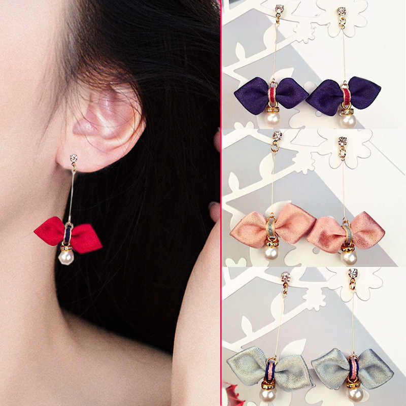 2018 New Drop Earrings for Women Asphalt Long Pearl Free Shipping Gray green Bowknot Girls Korean 1Pair Wine red Pink Earrings