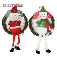 Merry Christmas Wreath Wood Santa Claus Garland Christmas Tree Hanging Ornaments Snowman Decoration Diameter 30cm For