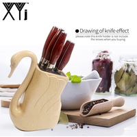 XYj Plastic Knife Holder ABS+TPR Handmade Kitchen Knives Stand Block Big Capacity For Scissors Knives Kitchen Accessories Tools