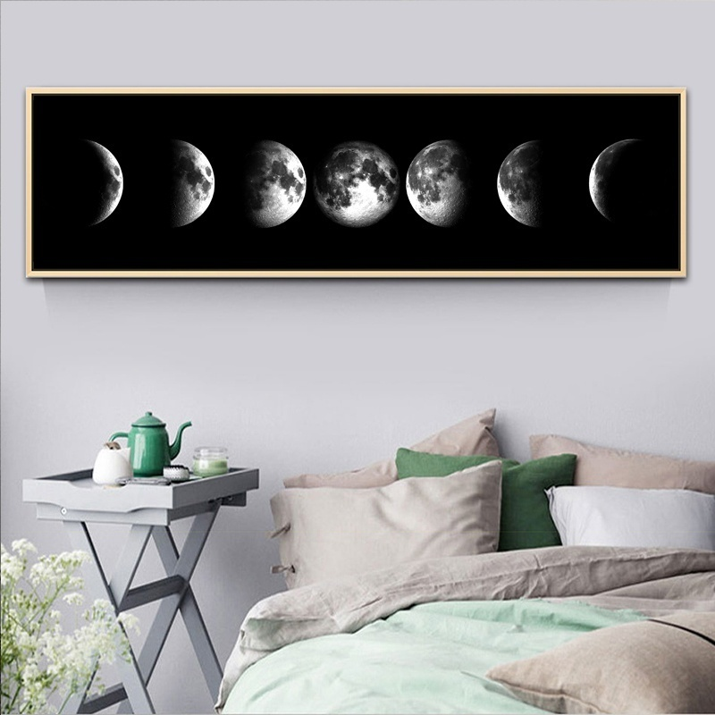 1 Piece Eclipse of The Moon Picture Painting on Canvas Wall Art for Home Office Wall Decor Modern Canvas Prints Artwork Unframed