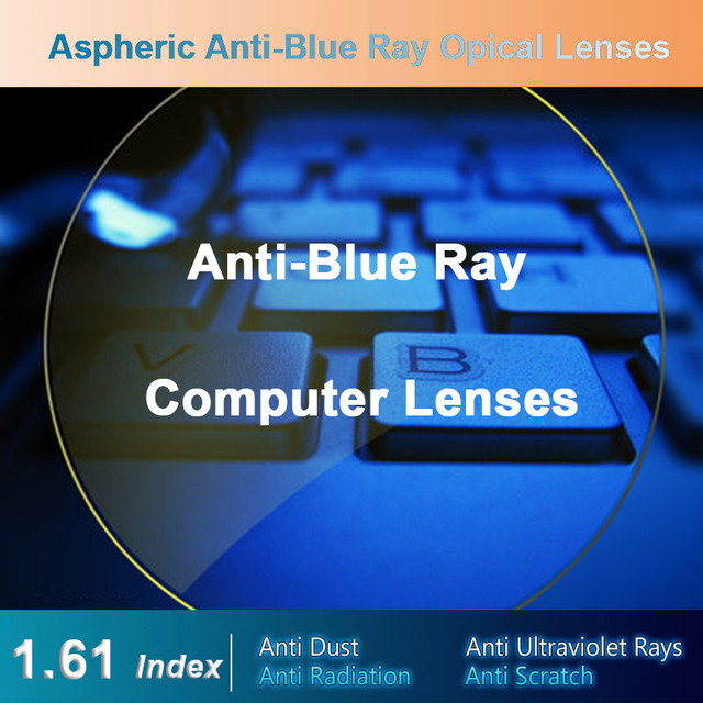 Lentes de corrección de visión para hombres y mujeres, lentes ópticas de corrección de visión graduadas para dispositivos digitales, Anti Blue Ray, 1,61