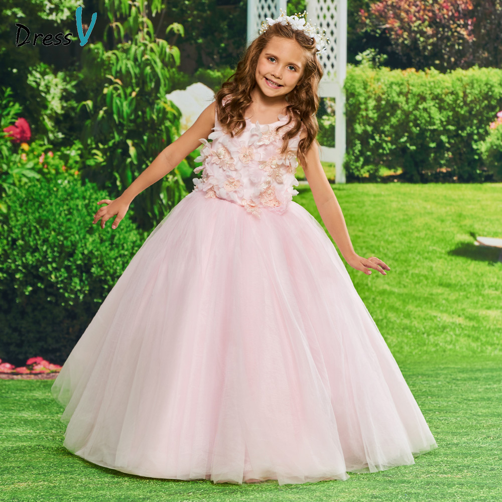 Dressv Pink Flower Girl Dress Appqiues Ball Gown Beading Birthday