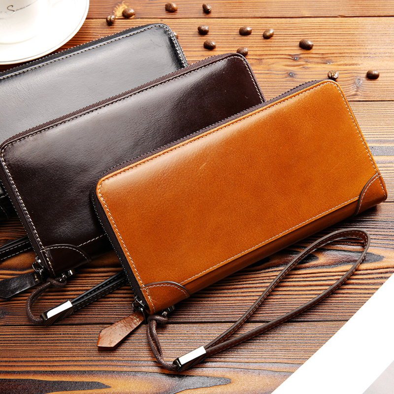 6dbcb2092 2019 New Men's wallets Male genuine leather luxury Clutch Bag fashion business  men purse zipper cowhide wallet With Coin Pocket