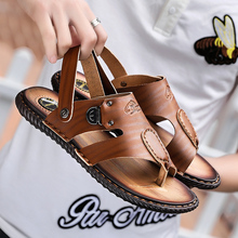 Big Size 47 Summer Men Beach Sandals Split Leather Sandal Shoes Leisure Durable Non-Slip Shoes Zapatillas Hombre Slippe цена
