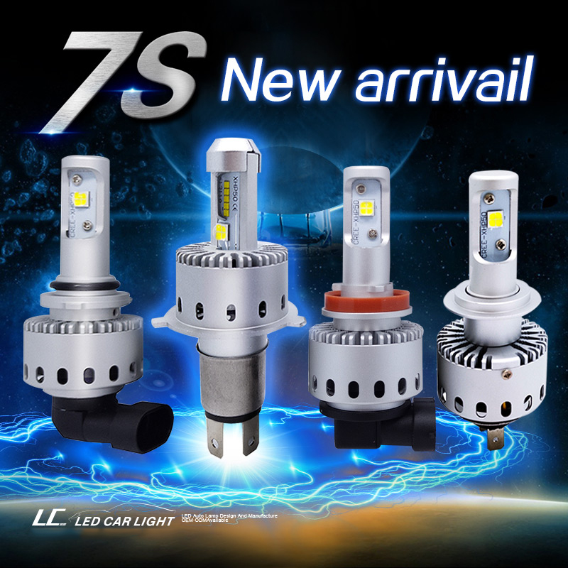 MON-SU Car LED Headlight Bulb 7s H4 H7 H8 H11 9005 9006 LED Bulb XHP-50 40W 8000LM Car Styling High Power White 6500K DC12-24V 7 inch round led headlights drl