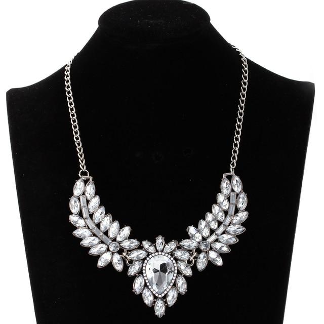 Wholesale Vintage Jewelry Clear Crystal Flower Chokers Necklace Women  Elegant Silver Statement Necklaces   Pendants ffaf7d7779bd