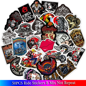 50Pcs New American Ride Club Stickers Sets Decal For Snowboard Luggage Car Fridge Car- Styling Laptop kids Stickers image