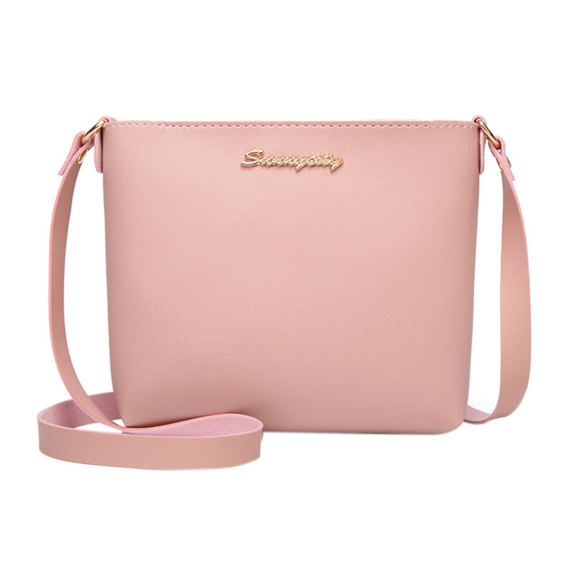 Fashion 2020 New Women Girls Ccasual Hot Sales Handbags Metal Letter Shoulder Purse Sweet Lady Solid Bucket Type Mobile Bag