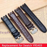 1:1 New High quality Genuine leather watchband 21mm leather strap special for swatch YRS403 412 402G watch Bracelet