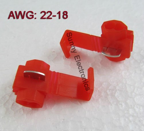 18 Gauge Wire Connectors | Aliexpress Com Buy 500 Red 22 18 Awg Scotch Lock Quick Splice Wire