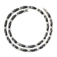 Wollet Jewelry Women Silver Black Ceramics Necklace Hematite Germanium 2 In 1 Pendant 316L Stainless Steel