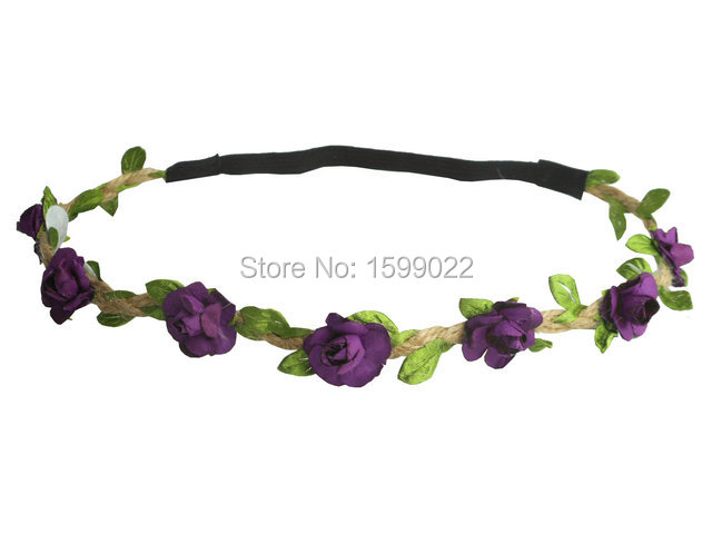10pcs/lot Bohemian Purple Elastic Hair Bands Gypsy Girls Hairband Forehead Accessories for Women Hippies Birthday Floral Crown