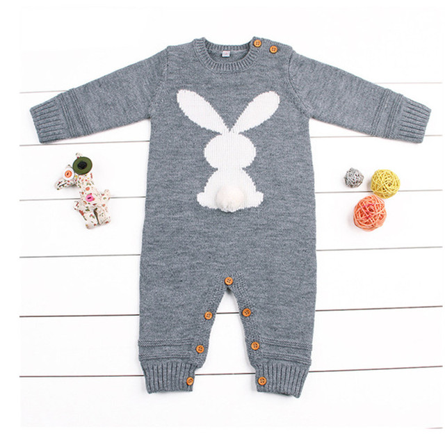 44db82634 Baby Girl Romper Winter Warm infant Newborn Boys One-Piece Jumpsuits Cute  Rabbit Knit Long Sleeve Body Suits With Legs Sun suit