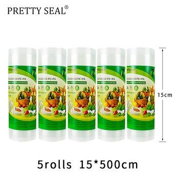 PRETTYSEAL  vacuum sealer bags BPA FREE 5rolls 15cm*5m Vacuum Plastic roll custom size Bags For Kitchen Vacuum stretch film