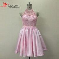 Новое поступление Best продаж высокое качество реальная картина Детские атласные розовые короткие жемчуг дешевые Бальные платья Для женщин