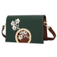 Women Leather Embroidery Messenger Bag Girl Shoulder Bags Female Bag Braccialini Style Plum Blossom Crossbody Bags for Women