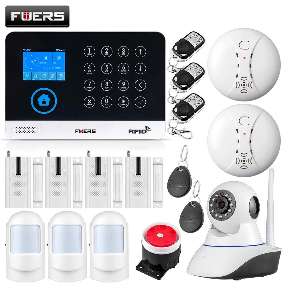 FUERS WG11 WIFI GSM Sans Fil Entreprise À Domicile Cambrioleur de Sécurité Système D'alarme APP Contrôle Sirène RFID Détecteur de Mouvement PIR Capteur de Fumée