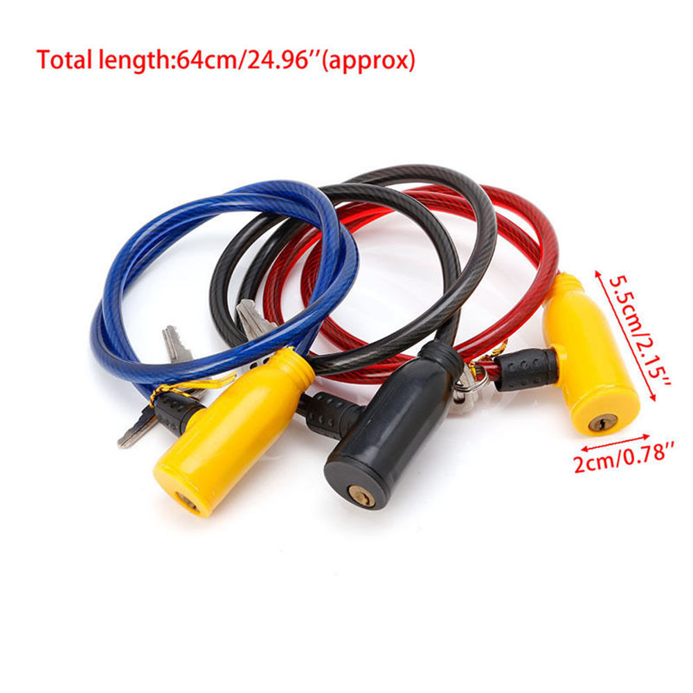 Bicycle Bike Cycle Cable lock 2 Keys Security Safety Anti Theft color red