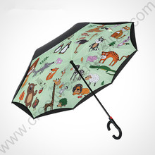 2pcs/lot 115cm auto open C-Hook self-defense Enlarge double layers Reverse hands-free umbrella Inverted standing parasol