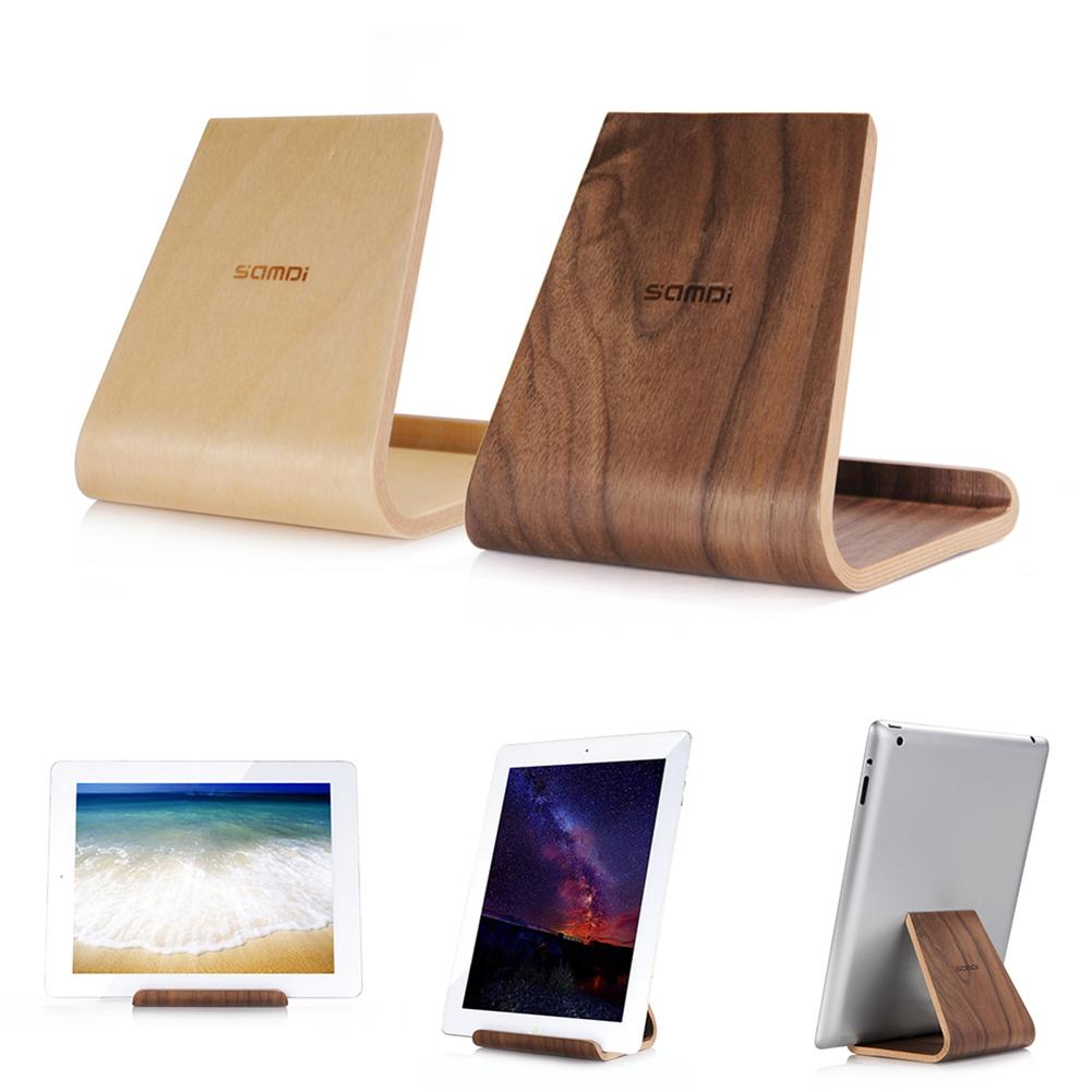 New Arrival Samdi Wood Anti-Slip Universal Phone Tablet Stand Holder For IPhone IPad Samsung