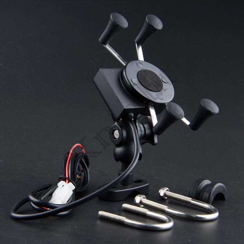 Aluminum Motorcycle Holder Stand Mount Bracket with 2.1A USB Charger Socket For 3.5-6 Inches Mobile Phone, GPS