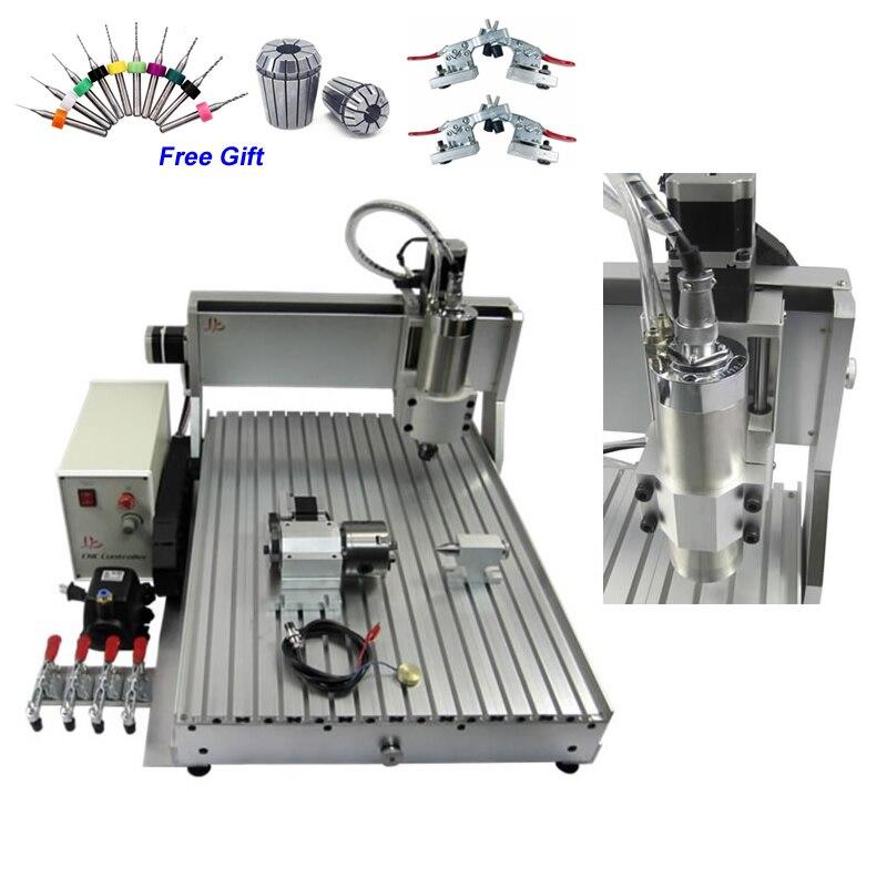 6090 kW Mini CNC enrutador 3D CNC máquina de grabado 4 ejes CNC torno máquina de carpintería Metal PVC corte fresado