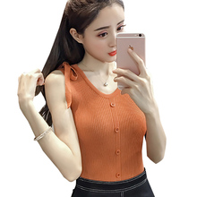 shintimes Blusas Knitted Cotton Ladies Tops Button Blouse Women Sleeveless Blouses Woman 2019 Summer Shirt Bow Womens Clothing
