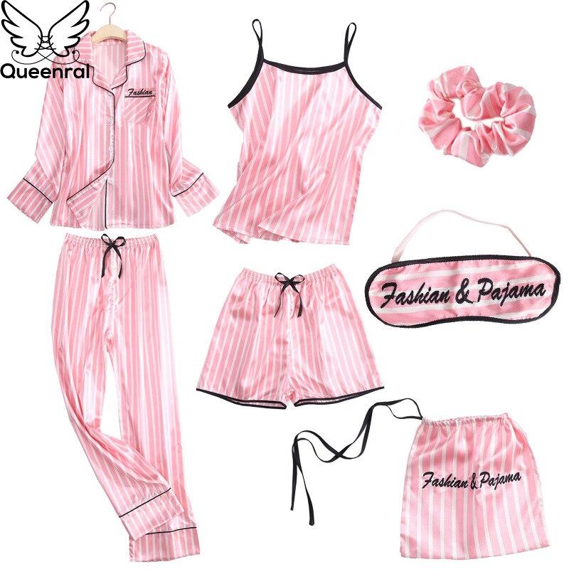 Queenral 7 Pieces Women's Pajamas Set Satin Silk Lingerie Sleepwear Pyjamas Set For Woman Home Clothes Nightgown Underwear