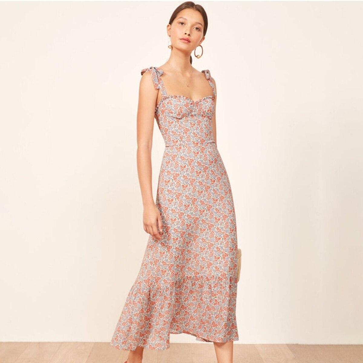 204d35396e2cc Nikita Ruffles Midi Dress Women Vintage 2019 Summer Strapless Sleeveless  Sexy Dress Ladies Floral Print Party Club Elegant Dress