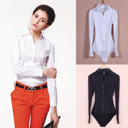 c0d09aedf1b24d ew Women s Elegant Long sleeve Cotton OL Bodysuit Shirt Blouse Button Design
