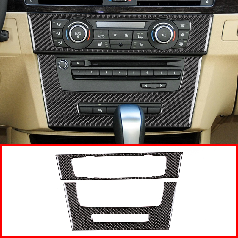 2Pcs Real Carbon Fiber Center Console CD Decoration Panel Cover Trim For BMW 3 Series E90 E92 2012 Year Car Accessories