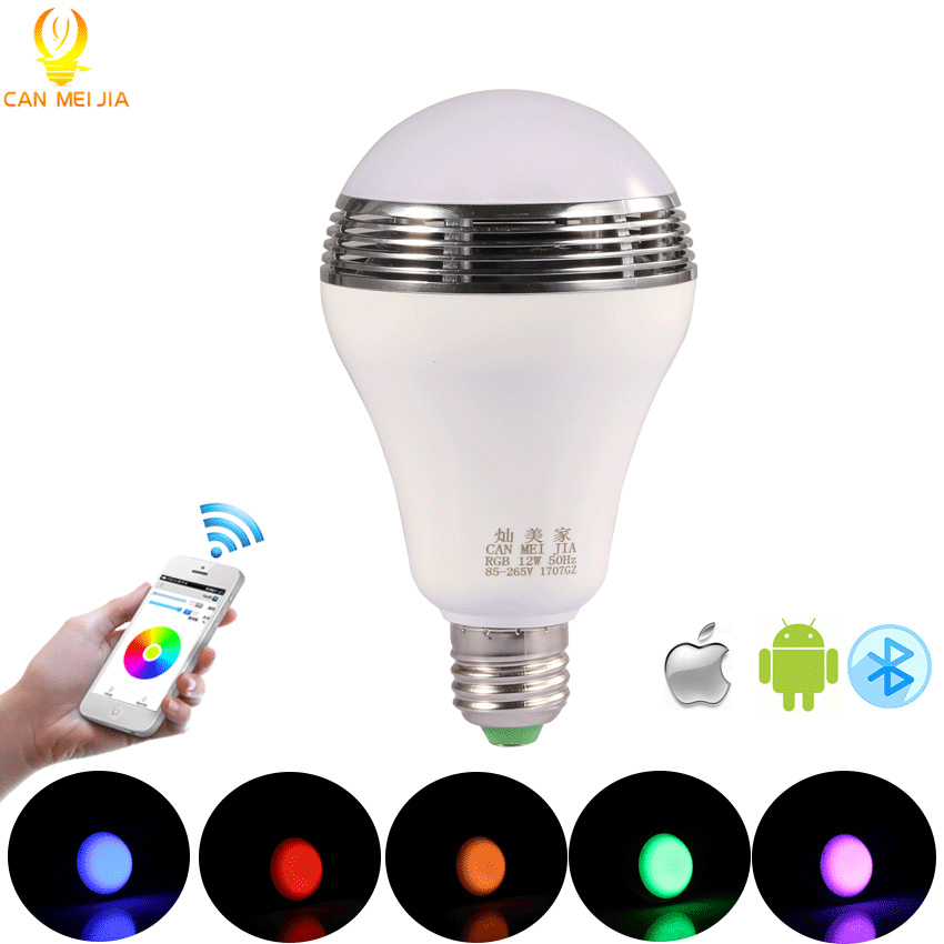 CANMEIJIA Intelligent E27 RGB LED Bulb Bluetooth Speaker Music Player Lights Lamp Dimmable Ampoule Led+ App Remote Control 220v remote control music player bluetooth speaker energy saving e27 18 colors change led bulb light lamp for ios android smartphone