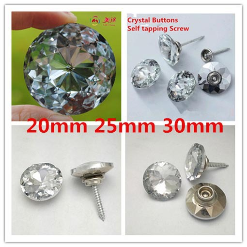 50pcs Redbud Crystal Button Nail Self Tapping Screw Background Wall